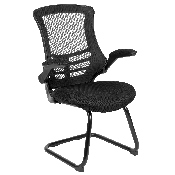 Black Mesh Sled Base Side Reception Chair with Flip-Up Arms, BL-X-5C-GG