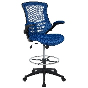 Mid-Back Blue Mesh Ergonomic Drafting Chair with Adjustable Foot Ring and Flip-Up Arms, BL-X-5M-D-BLUE-GG