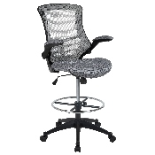 Mid-Back Dark Gray Mesh Ergonomic Drafting Chair with Adjustable Foot Ring and Flip-Up Arms, BL-X-5M-D-DKGY-GG