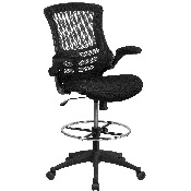 Mid-Back Black Mesh Ergonomic Drafting Chair with Adjustable Foot Ring and Flip-Up Arms, BL-X-5M-D-GG