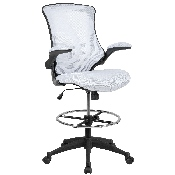 Mid-Back White Mesh Ergonomic Drafting Chair with Adjustable Foot Ring and Flip-Up Arms, BL-X-5M-D-WH-GG