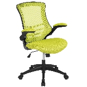 Mid-Back Green Mesh Swivel Ergonomic Task Office Chair with Flip-Up Arms