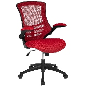 Mid-Back Red Mesh Swivel Ergonomic Task Office Chair with Flip-Up Arms