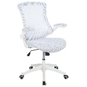 Mid-Back White Mesh Swivel Ergonomic Task Office Chair with White Frame and Flip-Up Arms