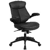 Mid-Back Black LeatherSoft Executive Swivel Ergonomic Office Chair with Back Angle Adjustment and Flip-Up Arms