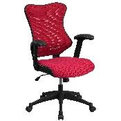 High Back Designer Burgundy Mesh Executive Swivel Ergonomic Office Chair with Adjustable Arms
