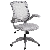 Mid-Back Gray Mesh Swivel Ergonomic Task Office Chair with Gray Frame and Flip-Up Arms