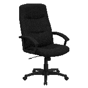 High Back Black Fabric Executive Swivel Office Chair with Two Line Horizontal Stitch Back and Arms