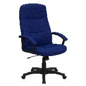 High Back Navy Blue Fabric Executive Swivel Office Chair with Two Line Horizontal Stitch Back and Arms