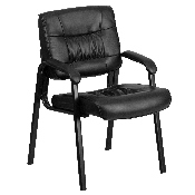 Black LeatherSoft Executive Side Reception Chair with Black Metal Frame