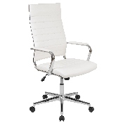 High Back White LeatherSoft Contemporary Ribbed Executive Swivel Office Chair
