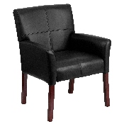Black LeatherSoft Executive Side Reception Chair with Mahogany Legs