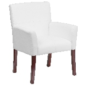 White LeatherSoft Executive Side Reception Chair with Mahogany Legs