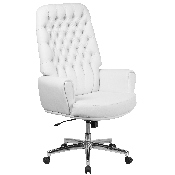 High Back Traditional Tufted White LeatherSoft Executive Swivel Office Chair with Arms