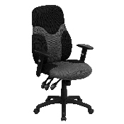 High Back Ergonomic Black and Gray Mesh Swivel Task Office Chair with Adjustable Arms