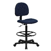 Navy Blue Patterned Fabric Drafting Chair (Cylinders: 22.5''-27''H or 26''-30.5''H)