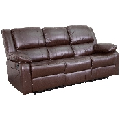 Harmony Series Brown LeatherSoft Sofa with Two Built-In Recliners
