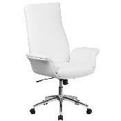 High Back White LeatherSoft Executive Swivel Office Chair with Flared Arms