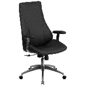 High Back Black LeatherSoft Smooth Upholstered Executive Swivel Office Chair with Arms