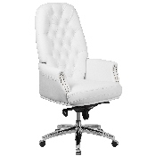 High Back Traditional Tufted White LeatherSoft Multifunction Executive Swivel Ergonomic Office Chair with Arms