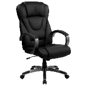 High Back Black LeatherSoft Executive Swivel Office Chair with Titanium Nylon Base and Loop Arms, BT-9069-BK-GG