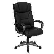 High Back Black LeatherSoft Executive Swivel Office Chair with Arms, BT-9177-BK-GG