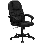 High Back Black LeatherSoft Executive Swivel Office Chair with Arms, BT-983-BK-GG