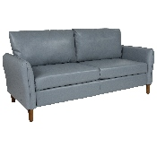 Milton Park Upholstered Plush Pillow Back Sofa in Gray LeatherSoft
