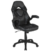 X10 Gaming Chair Racing Office Ergonomic Computer PC Adjustable Swivel Chair with Flip-up Arms, Black LeatherSoft