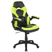 X10 Gaming Chair Racing Office Ergonomic Computer PC Adjustable Swivel Chair with Flip-up Arms, Neon Green/Black LeatherSoft