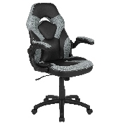 X10 Gaming Chair Racing Office Ergonomic Computer PC Adjustable Swivel Chair with Flip-up Arms, Gray/Black LeatherSoft
