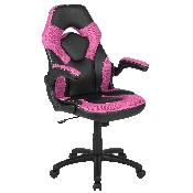 X10 Gaming Chair Racing Office Ergonomic Computer PC Adjustable Swivel Chair with Flip-up Arms, Pink/Black LeatherSoft