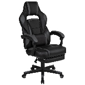 X40 Gaming Chair Racing Ergonomic Computer Chair with Fully Reclining Back/Arms, Slide-Out Footrest, Massaging Lumbar - Black/Gray