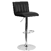 Contemporary Black Vinyl Adjustable Height Barstool with Vertical Stitch Back/Seat and Chrome Base
