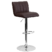 Contemporary Brown Vinyl Adjustable Height Barstool with Vertical Stitch Back/Seat and Chrome Base