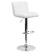Contemporary White Vinyl Adjustable Height Barstool with Vertical Stitch Back/Seat and Chrome Base
