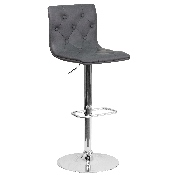 Contemporary Button Tufted Gray Vinyl Adjustable Height Barstool with Chrome Base