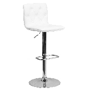 Contemporary Button Tufted White Vinyl Adjustable Height Barstool with Chrome Base