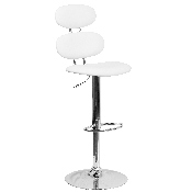 Contemporary White Vinyl Adjustable Height Barstool with Ellipse Back and Chrome Base