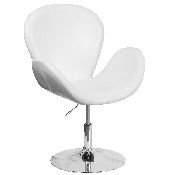 HERCULES Trestron Series White LeatherSoft Side Reception Chair with Adjustable Height Seat