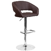 Contemporary Brown Vinyl Adjustable Height Barstool with Rounded Mid-Back and Chrome Base