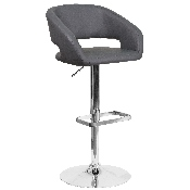 Contemporary Gray Vinyl Adjustable Height Barstool with Rounded Mid-Back and Chrome Base