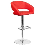 Contemporary Red Vinyl Adjustable Height Barstool with Rounded Mid-Back and Chrome Base