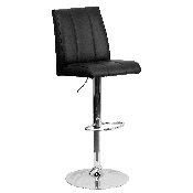 Contemporary Black Vinyl Adjustable Height Barstool with Vertical Stitch Panel Back and Chrome Base