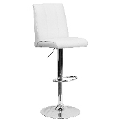 Contemporary White Vinyl Adjustable Height Barstool with Vertical Stitch Panel Back and Chrome Base
