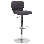 Contemporary Charcoal Fabric Adjustable Height Barstool with Vertical Stitch Back and Chrome Base