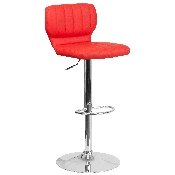 Contemporary Red Vinyl Adjustable Height Barstool with Vertical Stitch Back and Chrome Base