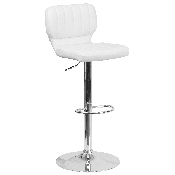 Contemporary White Vinyl Adjustable Height Barstool with Vertical Stitch Back and Chrome Base
