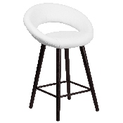 Kelsey Series 24'' High Contemporary Cappuccino Wood Counter Height Stool in White Vinyl
