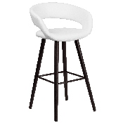 Brynn Series 29'' High Contemporary Cappuccino Wood Barstool in White Vinyl